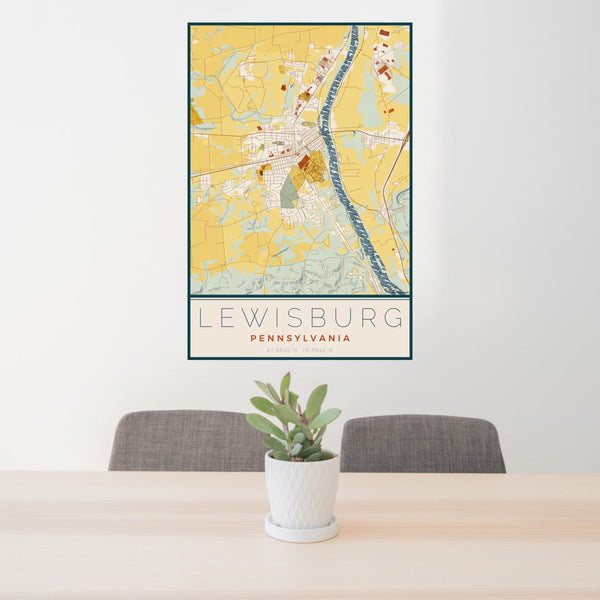 24x36 Lewisburg Pennsylvania Map Print Portrait Orientation in Woodblock Style Behind 2 Chairs Table and Potted Plant