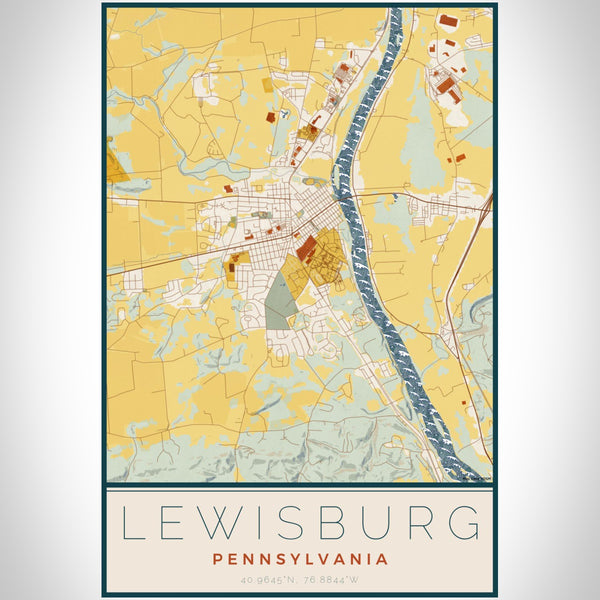 Lewisburg Pennsylvania Map Print Portrait Orientation in Woodblock Style With Shaded Background