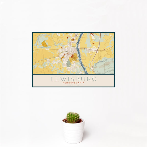 12x18 Lewisburg Pennsylvania Map Print Landscape Orientation in Woodblock Style With Small Cactus Plant in White Planter