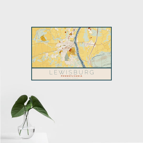 16x24 Lewisburg Pennsylvania Map Print Landscape Orientation in Woodblock Style With Tropical Plant Leaves in Water
