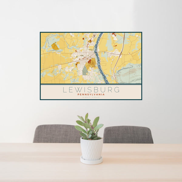 24x36 Lewisburg Pennsylvania Map Print Landscape Orientation in Woodblock Style Behind 2 Chairs Table and Potted Plant