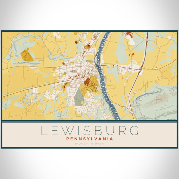 Lewisburg Pennsylvania Map Print Landscape Orientation in Woodblock Style With Shaded Background