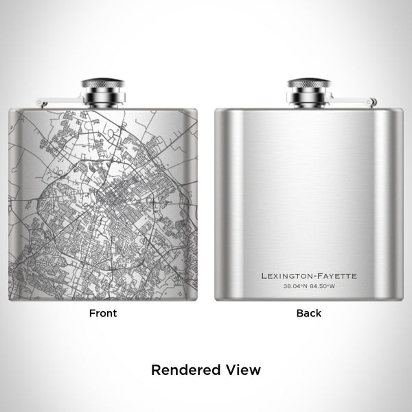 Lexington-Fayette - Kentucky Map Hip Flask