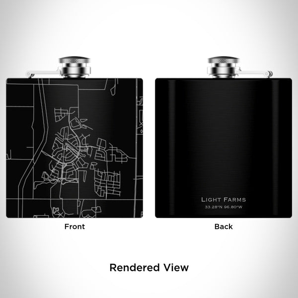 Rendered View of Light Farms Celina Map Engraving on 6oz Stainless Steel Flask in Black