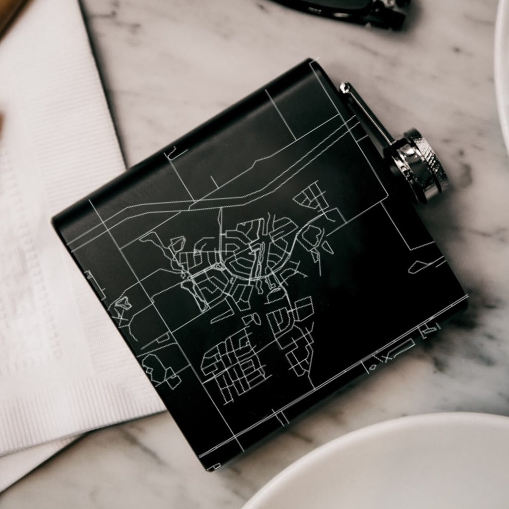 Light Farms Celina Custom Engraved City Map Inscription Coordinates on 6oz Stainless Steel Flask in Black