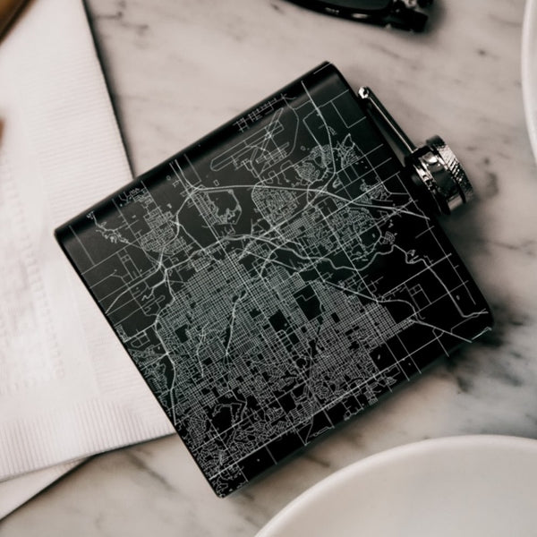 Lincoln - Nebraska Map Hip Flask in Matte Black