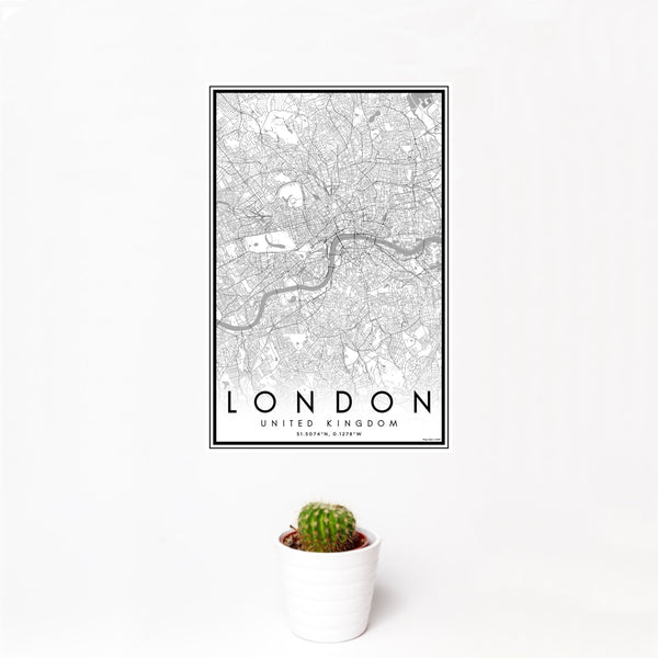 12x18 London United Kingdom Map Print Portrait Orientation in Classic Style With Small Cactus Plant in White Planter