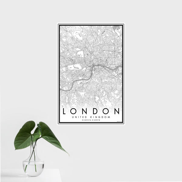 16x24 London United Kingdom Map Print Portrait Orientation in Classic Style With Tropical Plant Leaves in Water
