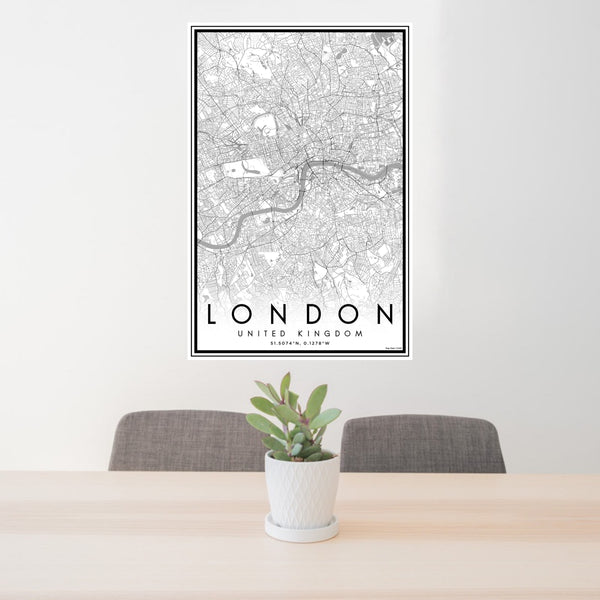 24x36 London United Kingdom Map Print Portrait Orientation in Classic Style Behind 2 Chairs Table and Potted Plant