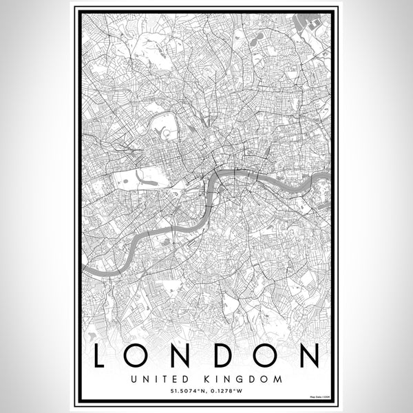 London United Kingdom Map Print Portrait Orientation in Classic Style With Shaded Background