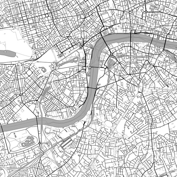 London United Kingdom Map Print in Classic Style Zoomed In Close Up Showing Details