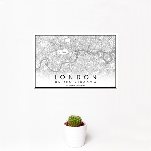 12x18 London United Kingdom Map Print Landscape Orientation in Classic Style With Small Cactus Plant in White Planter