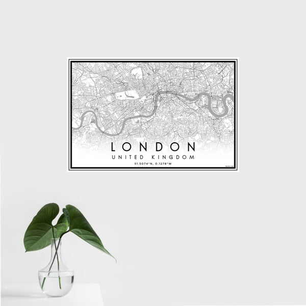 16x24 London United Kingdom Map Print Landscape Orientation in Classic Style With Tropical Plant Leaves in Water