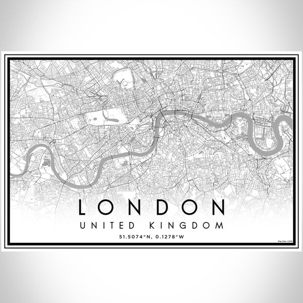 London United Kingdom Map Print Landscape Orientation in Classic Style With Shaded Background