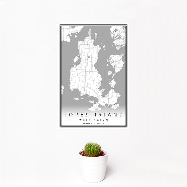 12x18 Lopez Island Washington Map Print Portrait Orientation in Classic Style With Small Cactus Plant in White Planter