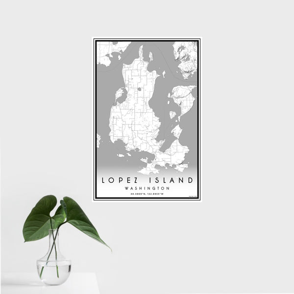 16x24 Lopez Island Washington Map Print Portrait Orientation in Classic Style With Tropical Plant Leaves in Water