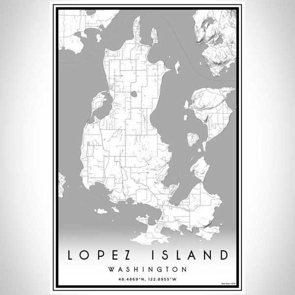 Lopez Island Washington Map Print Portrait Orientation in Classic Style With Shaded Background