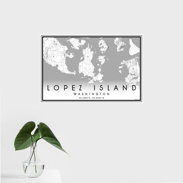 16x24 Lopez Island Washington Map Print Landscape Orientation in Classic Style With Tropical Plant Leaves in Water