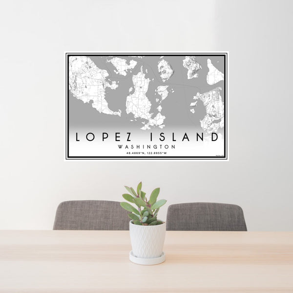 24x36 Lopez Island Washington Map Print Landscape Orientation in Classic Style Behind 2 Chairs Table and Potted Plant