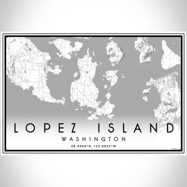 Lopez Island Washington Map Print Landscape Orientation in Classic Style With Shaded Background