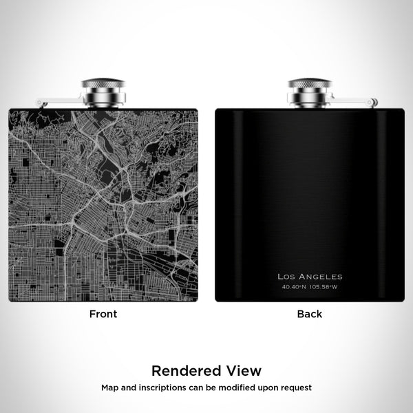 Los Angeles - California Map Hip Flask in Matte Black