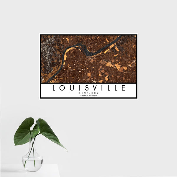 Louisville - Kentucky Map Print in Ember