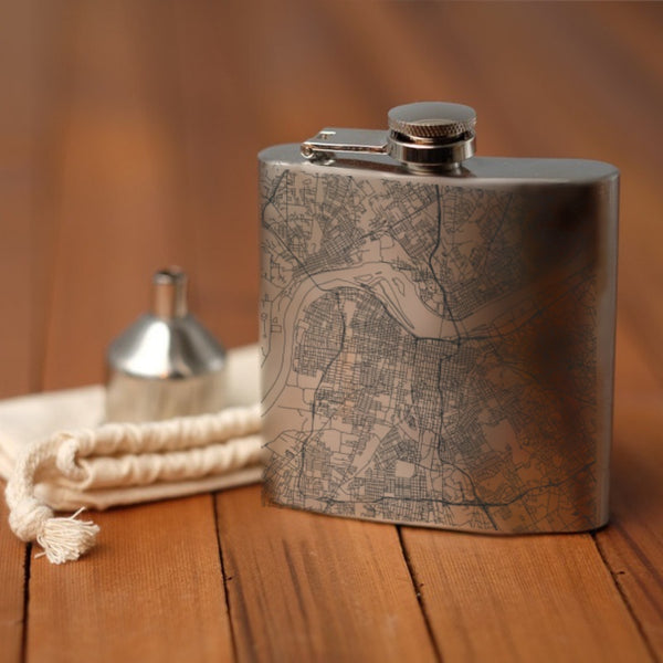 Louisville - Kentucky Map Hip Flask