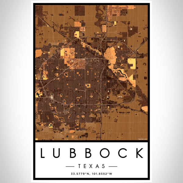 Lubbock - Texas Map Print in Ember