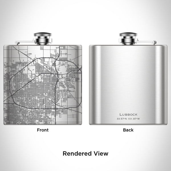 Lubbock - Texas Map Hip Flask