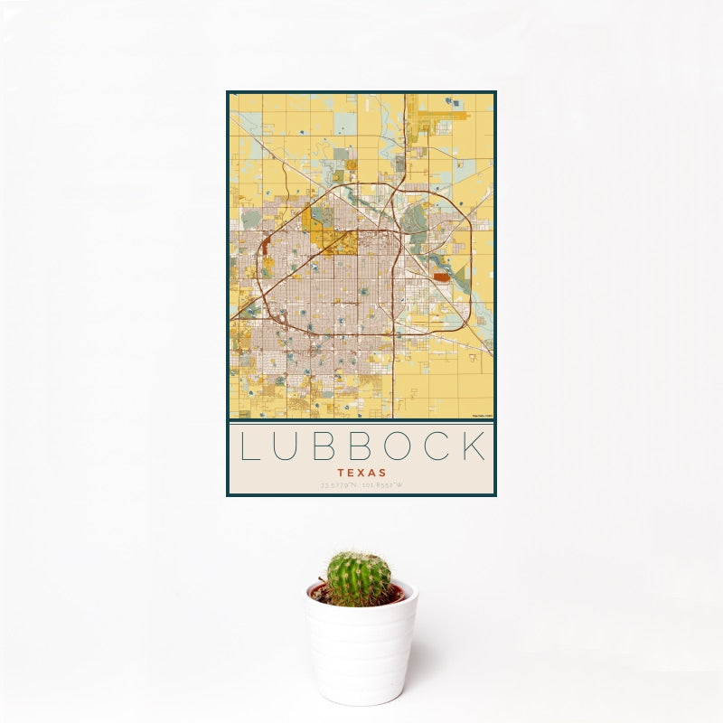 Lubbock - Texas Map Print in Woodblock