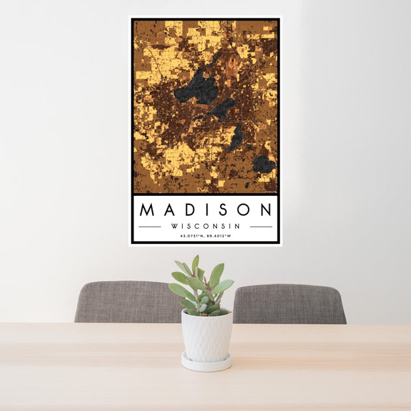 Madison - Wisconsin Map Print in Ember