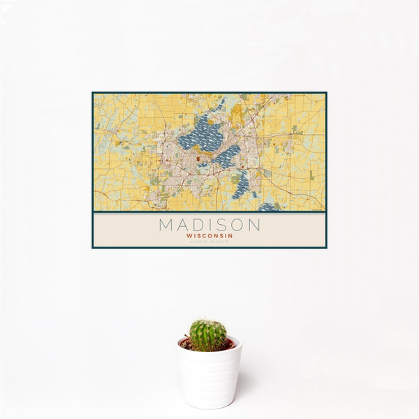 Madison - Wisconsin Map Print in Woodblock