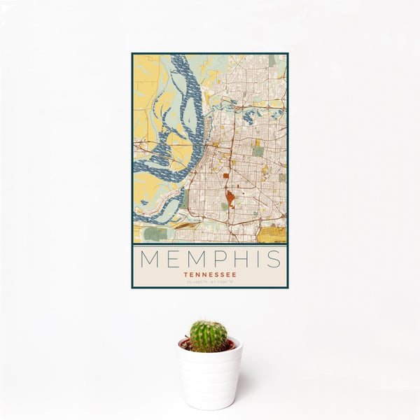 Memphis - Tennessee Map Print in Woodblock