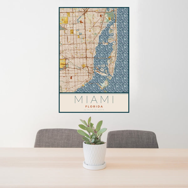 Miami - Florida Map Print in Woodblock