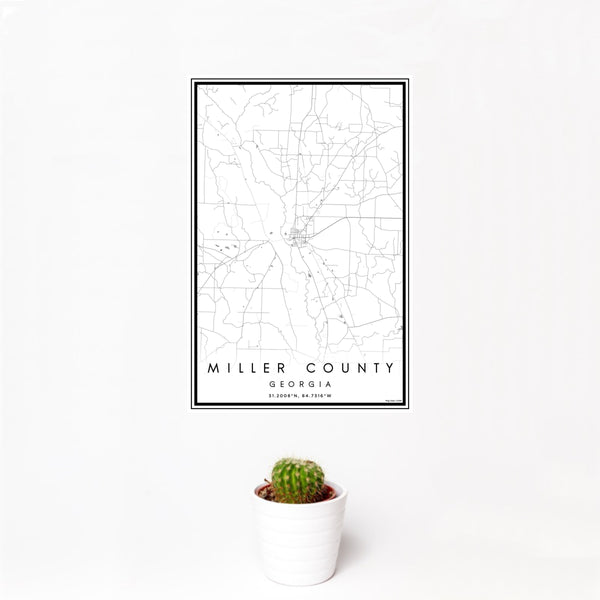 12x18 Miller County Georgia Map Print Portrait Orientation in Classic Style With Small Cactus Plant in White Planter
