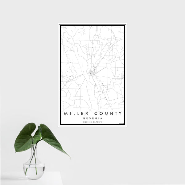 16x24 Miller County Georgia Map Print Portrait Orientation in Classic Style With Tropical Plant Leaves in Water