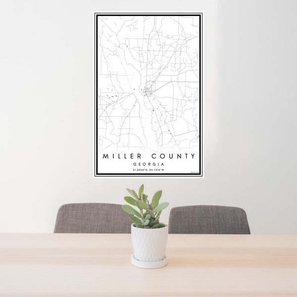 24x36 Miller County Georgia Map Print Portrait Orientation in Classic Style Behind 2 Chairs Table and Potted Plant