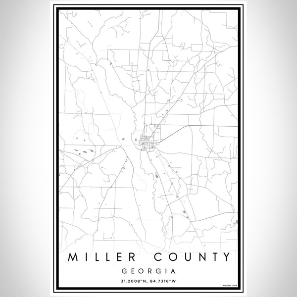 Miller County Georgia Map Print Portrait Orientation in Classic Style With Shaded Background