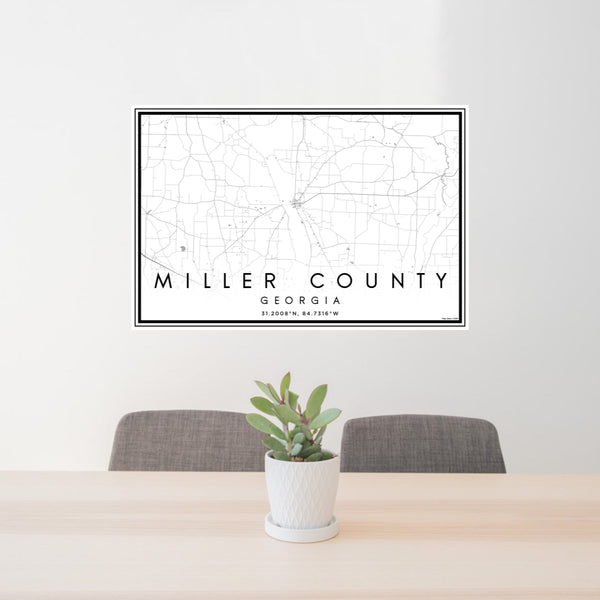 24x36 Miller County Georgia Map Print Landscape Orientation in Classic Style Behind 2 Chairs Table and Potted Plant