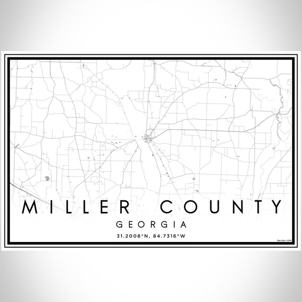 Miller County Georgia Map Print Landscape Orientation in Classic Style With Shaded Background