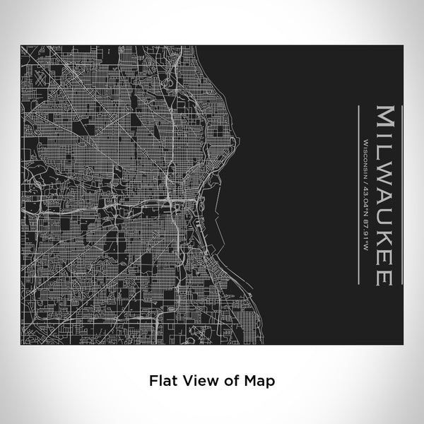 Milwaukee - Wisconsin Map Bottle with Bamboo Top in Matte Black