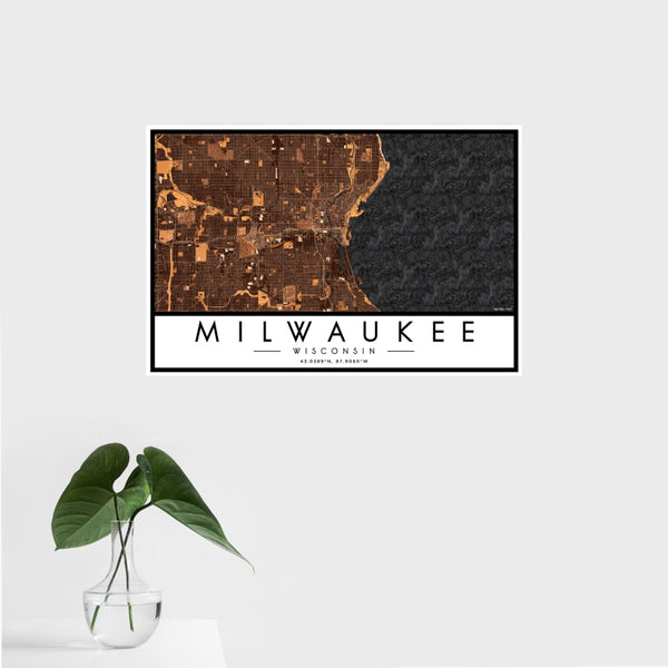 Milwaukee - Wisconsin Map Print in Ember