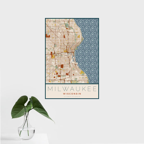 Milwaukee - Wisconsin Map Print in Woodblock