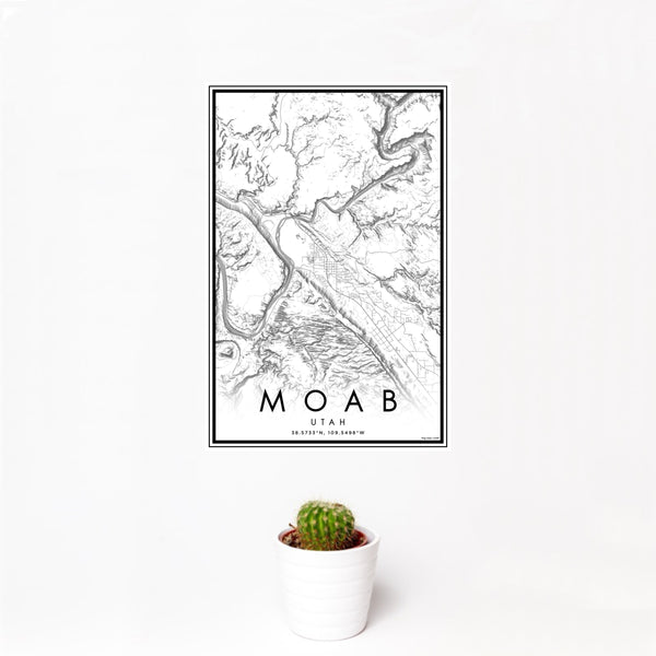 12x18 Moab Utah Map Print Portrait Orientation in Classic Style With Small Cactus Plant in White Planter