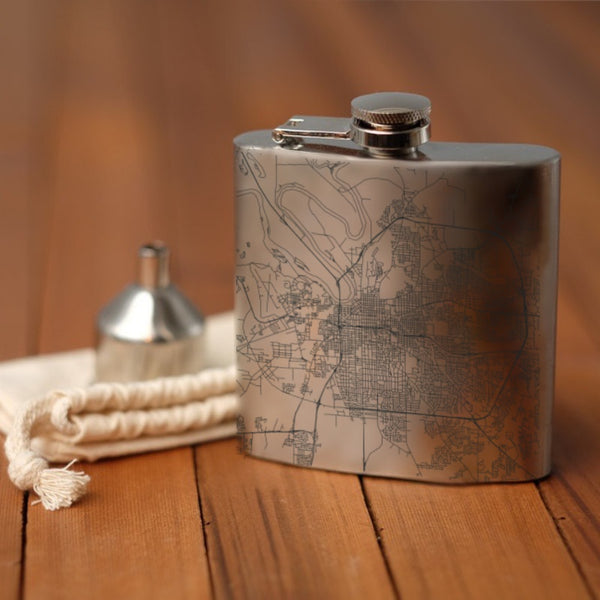 Montgomery - Alabama Map Hip Flask
