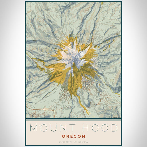 Mount Hood - Oregon Map Print in Woodblock