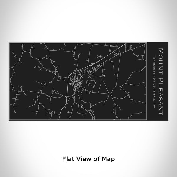 Rendered View of Mount Pleasant Tennessee Map Engraving on 17oz Stainless Steel Insulated Cola Bottle in Black