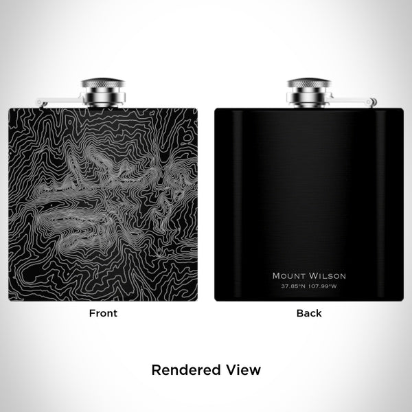 Rendered View of Mount Wilson Colorado Map Engraving on 6oz Stainless Steel Flask in Black