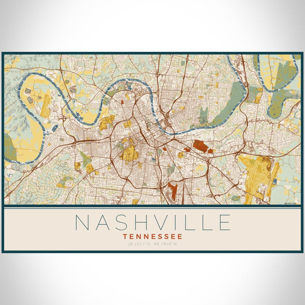 Nashville - Tennessee Map Print in Woodblock