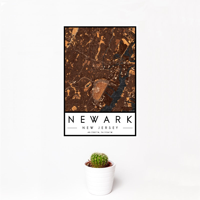 Newark - New Jersey Map Print in Ember